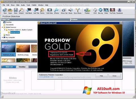 Skærmbillede ProShow Gold Windows 10