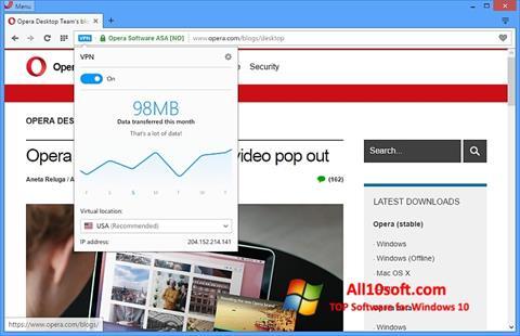 Skærmbillede Opera Windows 10