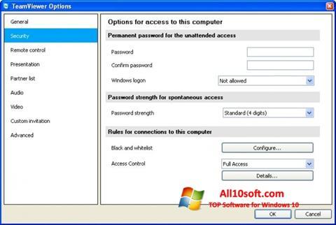 Skærmbillede TeamViewer Windows 10