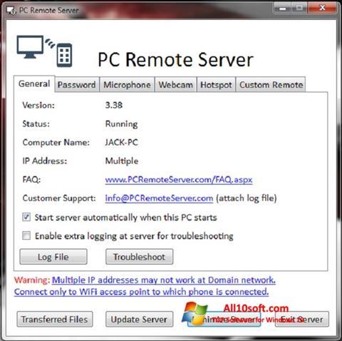 Skærmbillede PC Remote Server Windows 10