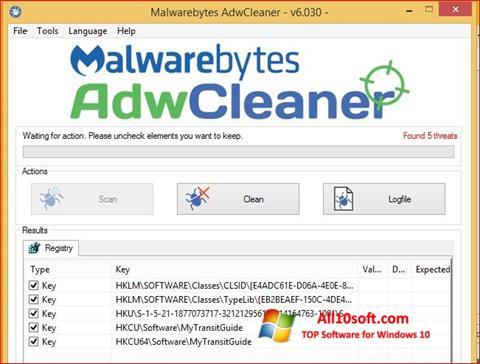 Skærmbillede AdwCleaner Windows 10