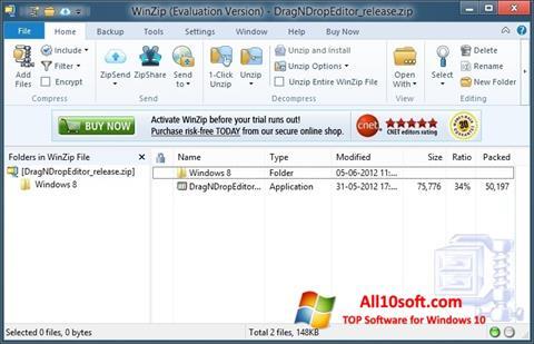 Skærmbillede WinZip Windows 10