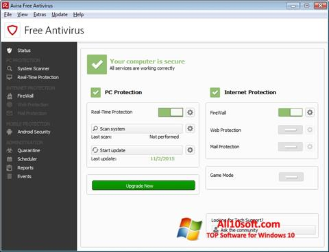 Skærmbillede Avira Free Antivirus Windows 10