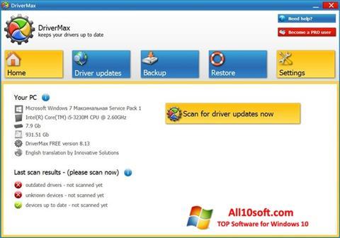 Skærmbillede DriverMax Windows 10