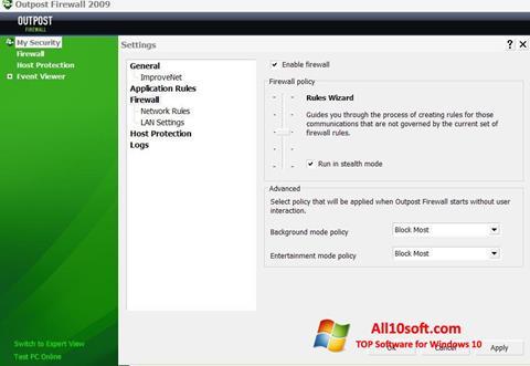 Skærmbillede Outpost Firewall Free Windows 10
