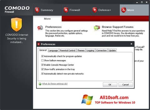 Skærmbillede Comodo Firewall Windows 10