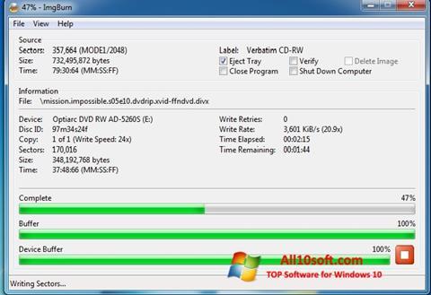 Skærmbillede ImgBurn Windows 10
