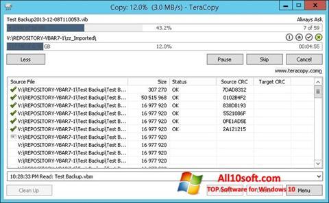 Skærmbillede TeraCopy Windows 10